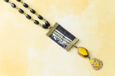 Yellow and Blue Recycled Sari Ribbon Necklace with Vintage Tin