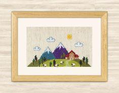 Cross Stitch Pattern Alpen village house mountain by TimeForStitch