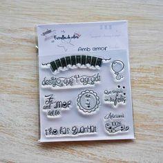 Colección de sellos acrílicos AMB AMOR para Scrapbook y packaging (català) de Estrellesdecolors en Etsy