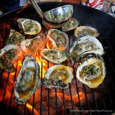 Classic grilled oysters by Miles Prescott - walk through from a chef on how to charbroil oysters with several recipes at the bottom of the article. Grilling Recipes, Fish Recipes, Seafood Recipes, Great Recipes, Cooking Recipes, Favorite Recipes, Healthy Recipes, Grilling Tips, Donut Recipes