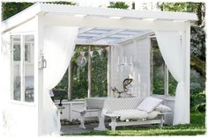 Kesäkeittiö 💜 Our summer kitchen Canopy Outdoor, Outdoor Rooms, Outdoor Gardens, Outdoor Living, Outdoor Decor, Patio Pergola, Backyard Patio, Gazebo, Outside Patio