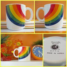 VTG 1970s Retro Groovy MOD Rainbow Pride Ceramic Coffee Cup Mug Desk Pen Holder #FTD