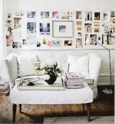 """Pretty living room area + gallery wall"""" http://www.stylemepretty.com/living/2015/07/08/the-prettiest-sofas-ever/"""