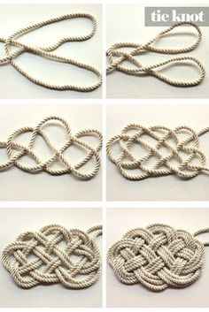 Des noeuds marins pour faire un tapis / DIY Nautical Rope Necklace to make a…nautical rope knot / necklace or rug. I am going to make it into a barrette!DIY Nautical Rope Necklace can we use thi Nautical Rugs, Nautical Knots, Vintage Nautical, Nautical Theme, The Knot, Rope Knots, Macrame Knots, Rope Chain, Rope Rug