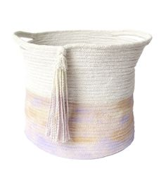 This soft-sided basket is made entirely of cotton cord, sewn together. It is the…