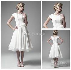 Wholesale White Chiffon Knee Length Short Sleeve Wedding Dress Bridal Gowns 2012 Beautiful, Free shipping, $87.2-109.99/Piece | DHgate