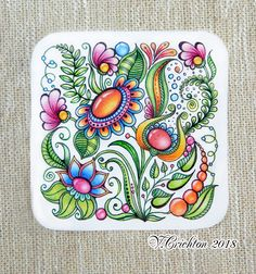 Zentangle art, tales zentangle zentangle gems and droplets, colour pencils. Doodle Art Designs, Doodle Patterns, Zentangle Patterns, Zentangle Drawings, Doodles Zentangles, Doodle Drawings, Tangle Doodle, Tangle Art, Doodle Inspiration