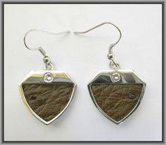 Ostrich leather crystal earrings - Kango Tabac OE09 Crystal Earrings, Pendant Necklace, Crystals, Leather, Jewelry, Fashion, Moda, Jewlery, Jewerly