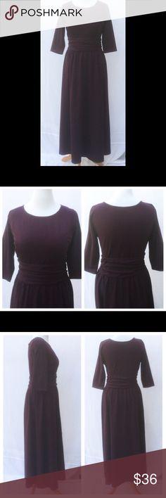 "New Eshakti Purple Knit Fit Flare Maxi Dress XL 18 New Eshakti plum purple knit fit & flare maxi dress XL 18 Measuremed flat: underarm to underarm: 42"" Waist: 34""(stretches to 39"") Sleeve: 17"" Length: 57 ½""  Eshakti size guide for bust XL 18: 43 1/2"" Scoop neck, princess seamed bodice, ruched gathered waist, hidden side zipper. Cotton/spandex, woven jersey knit, light stretch. Machine wash. New w/ cut out Eshakti tag to prevent returning to Eshakti eshakti Dresses Maxi"