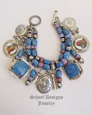 Schaef Designs, Rocki Gorman & Vince Platero Denim Lapis, Sterling silver bench bead,& Native American charms bracelet | by Bobby Schaefer | Upscale online Southwestern Turquoise Native American Equine Jewelry Gallery Boutique | New Mexico