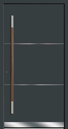 HTC Stainless Steel strips contrasts to the door color. Long vertical Door Handle made of wood & stainless steel Room Door Design, Door Design Interior, Main Door Design, Wooden Door Design, Wooden Doors, Modern Entrance Door, Modern Front Door, Entry Doors, Vertical Doors