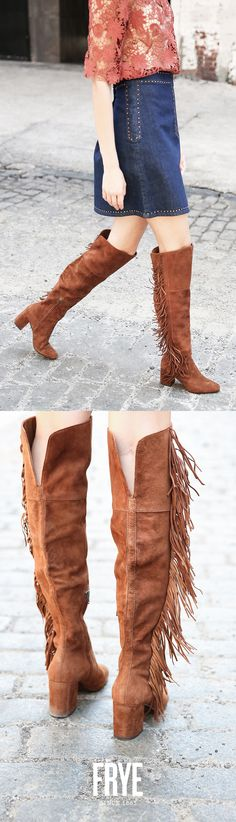 Pair your Fall outfits with fringe OTK boots from The Frye Company.