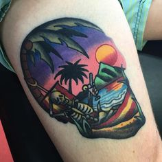 Skeleton on hammock tattoo by Sam Kane