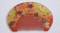 Vintage Japanese Celluloid Hair Comb Kushi and Matching Kanzashi | eBay