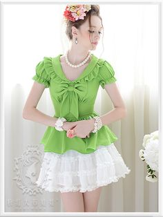 2016 verano verde ruffle arco delgado burbuja camisa de mangas cortas mujer blusas tamaño sml envío gratuito en Blusas y Camisas de Moda y Complementos Mujer en AliExpress.com   Alibaba Group