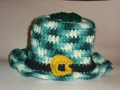 Leprechaun Hat Toilet Tissue Cover - free crochet pattern