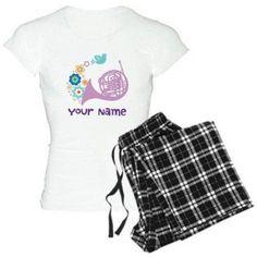 Cafepress Personalized French Horn Women's Light Pajamas, Size: Large