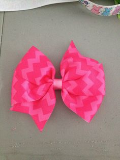 Pink Chevron Bow $3.00 www.facebook.com/treasuresbyhand