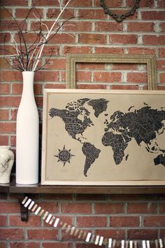 wit & whistle world map poster
