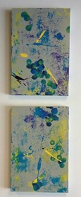 Two Piece Abstract Painting, Contemporary Art, Two Panel Artwork, Modern Art