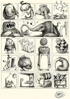 """Series of Sketches made with ballpoint pen on paper. """"Little and quick Concepts for Great Ideas"""" Character Sketches, Character Illustration, Art Sketches, Character Art, Illustration Art, Monster Sketch, Monster Drawing, Monster Art, Cartoon Drawings"""