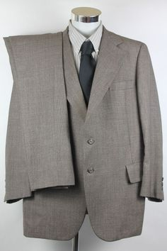 Hart Schaffner Marx 2 Piece Suit Blazer Jacket 44R Pants Trouser 40x28 Plaid USA #HartSchaffnerMarx #TwoButton
