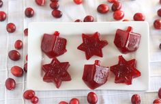 What a fun idea! Use Hanukkah cookie cutters on canned cranberry sauce.