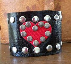 red HEART on BLACK studded leather cuff bracelet by whackytacky, $45.00