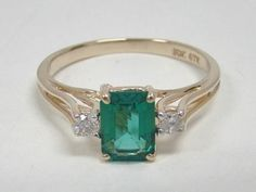 10K YELLOW GOLD RING EMERALD CUT CREATED EMERALD .10 CT TW GENUINE DIAMONDS SZ 7 #GTR #SolitairewithAccents