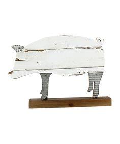 Look at this #zulilyfind! Wood Tabletop Pig Statue #zulilyfinds