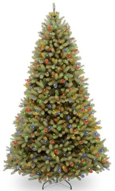 "Downswept Douglas 9"" Green Fir Artificial Hinged Christmas Tree with 900 LED Multi Lights and Stand"