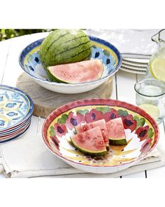 These unbreakable melamine serving bowls are perfect for outdoor gatherings! Get them here: http://www.bhg.com/shop/pottery-barn-cabo-melamine-serve-bowl-p514413e1e4b0de08ace324cb.html