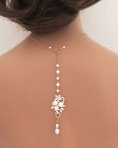Bridal backdrop necklace, Rose Gold back drop necklace, Wedding jewelry, Crystal necklace, Back necklace, Pearl necklace, simple, MIA
