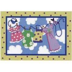 "Jade Reynolds In the Breeze Kids Rug Size: 3'3"" x 4'10"" by Fun Rugs. $80.00. JR-TSC-174 3958 Size: 3'3"" x 4'10"" Features: -Machine made in the USA with 100pct nylon.-Kids rug with non-skid backing for extra safety.-Extra high pile.-Hand carved.-Image of clothes drying on a clothesline. Options: -Available sizes: 3'3'' x 4'10''."