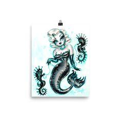 Blonde Glam Mermaid • Art Print – Miss Fluff's Boutique