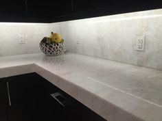 Mystery White Marble Slab Kitchen Countertop | South Miami Kitchen ...