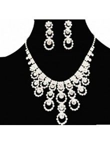 Wedding Jewelry Set - Fashion Alloy with Rhinestones Necklace and Earrings