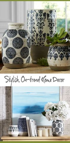 Love these colors!  A floral print adds delicate contrast to the rustic features of this beautiful vase. #homedecor #ideas #ad #DIY #livingroom #bedroom #diningroom #interiordesign #house #love #beautiful #budget #sale