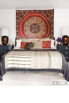 Ellen Pompeo's bedroom has a well-traveled look, with deco from all over the world.