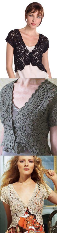 ♥ jacket, charts, colors, boleros de crochet, crochet vests, blog, crochet tops, black, bolero crochet