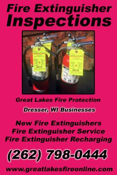 Fire Extinguisher Inspections Dresser, WI (262) 798-0444.. Local Wisconsin Businesses you have found the complete source for Fire Protection. Fire Extinguishers, Fire Extinguisher Service.. We're got you covered.. Great Lakes Fire Protection