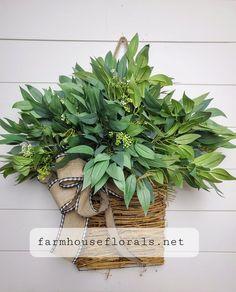 Mixed Forest  Greenery Door Hanger Basket image 2 Wreaths For Front Door, Door Wreaths, Grapevine Wreath, Front Porch, White Ranunculus, Hanging Baskets, Door Hangers, Artificial Flowers, Grape Vines
