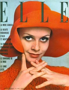 Twiggy in floppy hat ~ French Elle magazine cover