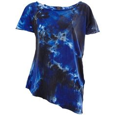 Avant Toi Tie Dye T-Shirt ($226) ❤ liked on Polyvore featuring tops, t-shirts, blue, tie dye tee, boat neck tee, tie die t shirt, blue t shirt and short sleeve t shirts