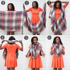 Blanket Scarf Tutorial, How to tie a blanket scarf  Vida Fashionista