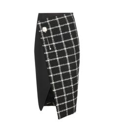 Black and white check wool blend wrap skirt