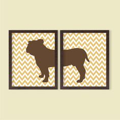 Bulldog Poster - Set of 2 - Stripes - 8x10 - Digital Printable Poster, Dog, Pet Lover, Typography, Art, Download and Print JPEG Image on Etsy, $7.82