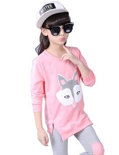 Little Hand Girls Toddler Clothing Sets Pajamas Fox Long Sleeve Sleepwear Outfits 2 Piece For Kids 4 5 6 7 8 9 T. Package:1*sweatshirt + 1*skinny pants. Casual design,pink top + grey leggings class colour match ,every little girl's first choice. The best
