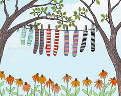 clean socks  signed digital illustration art by sarahkdesigns, $18.00