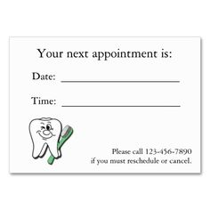 dental appointment card
